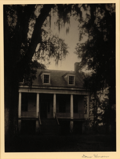 House with porch and columns, with trees and Spanish moss against sky