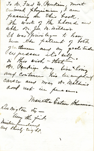 Note from Marietta Entner Shannon to Fred W. Rankin, M.D.                                 which accompanied a book by Dr. Joseph M. Mathews