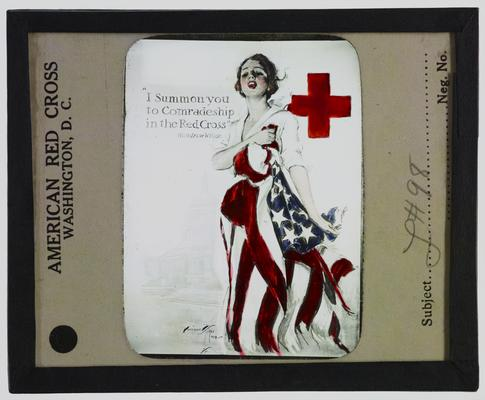 American Red Cross poster; slogan reads: I summon ou to comradeship in the Red Cross -Woodrow Wilson