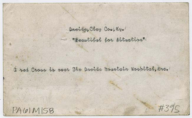 Clay County, Kentucky- Oneida, Clay Co., KY, 'Beautiful for situation', a red cross is over The Oneida Mounain Hospital, Inc