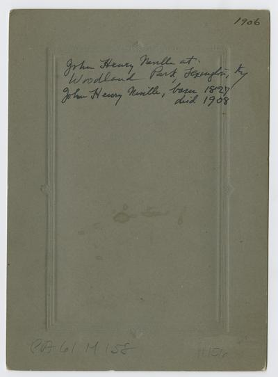 John Henry Neville at Woodland Park, Lexington, KY, born 1827, died 1908