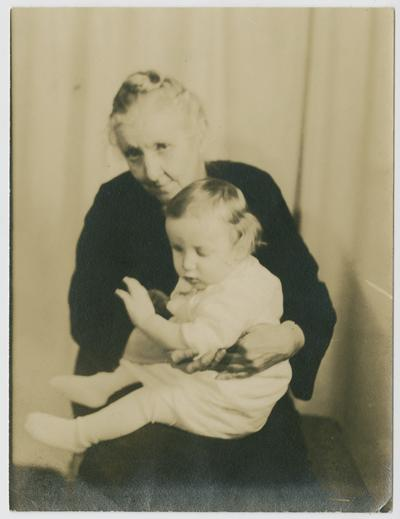 Linda Neville holding James Edward Deaton in the winter of 1939