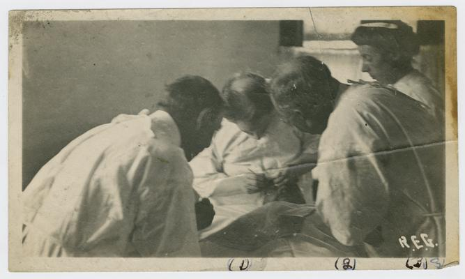 1. Dr. F. Parks Lewis- Buffalo, NY, noted opthalmologist. 2. Dr. John McMullen, U.S.P.H.S (US Public Health Service) Surgeon, who in 1913 became head of federal work against trachoma in Kentucky. 3. Mrs. Mae Sticks- anesthetist in USPHS