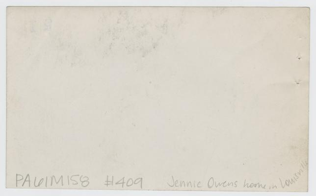 Louisville, Kentucky- home of Jennie Virginia Owens Wilson, 821 Camden Street, Louisville, KY. Found in correspondance
