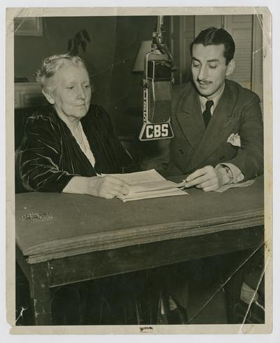 Linda Neville with Bob Trout on CBS in New York City