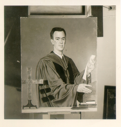Photograph of a portrait of Doctor Raymond McLean, President of Transylvania College, Lexington Kentucky from 1940-1951. Sliver Print