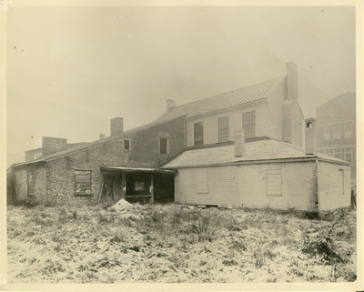 Rear exterior view of Ephraim McDowell House prior to the renovation by the WPA.  Photos by the WPA with handwritten description on back of photo. 8x10