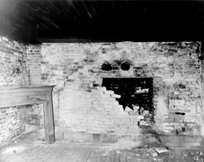 Interior view of the kitchen fireplace of the Ephraim McDowell House prior to renovation by the WPA. Photos by the WPA with handwritten description on back of photo. 8x10