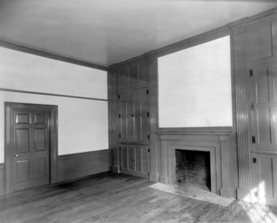 Interior view of the library of the Ephraim McDowell House after renovation by the WPA. Photos by the WPA with handwritten description on back of photo. 8x10