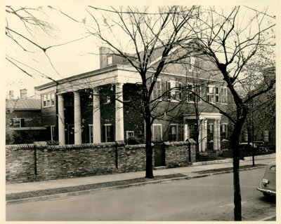 Bullock house, 200 Market Street, Lexington, Kentucky.  Photo taken after 1936 when the garden wall was constructed. 8x10