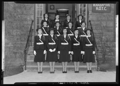 Sponsors, (1940 Kentuckian) (University of Kentucky); group                             portrait, women in uniform standing in front of the R.O.T.C.                             Headquarters building