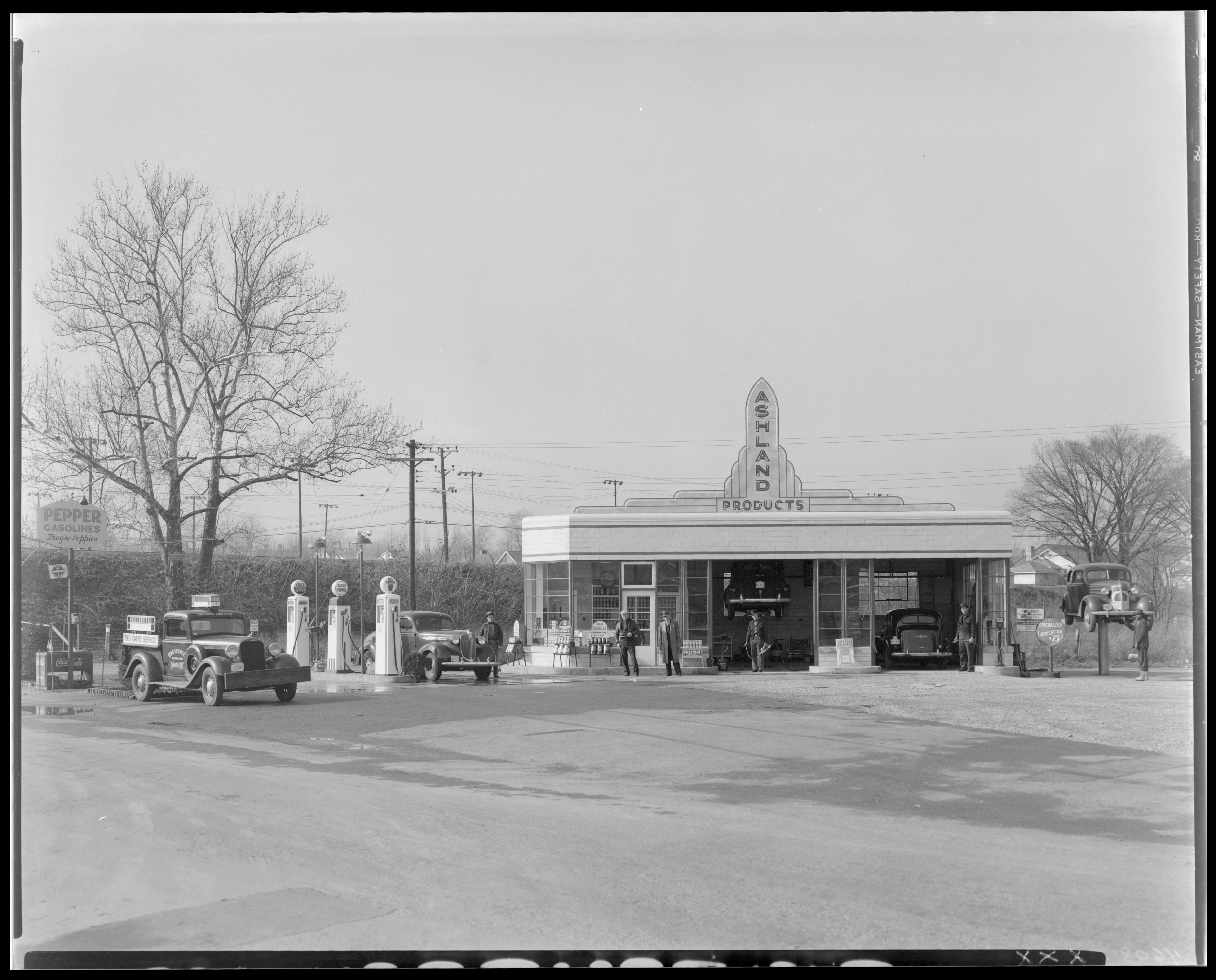Two Cars Gas Station (service station), (Broadway and Loudon…