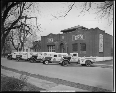 Sealtest Ice Cream Company, 444 West Fourth (4th); exterior of                             building, five company delivery trucks parked in front of                             building