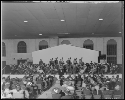 All State Orchestra; Men's Gymnasium (Gym), University of                             Kentucky; interior, orchestra on stage, audience seated