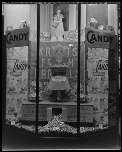 S.S. Kresge & Company (156, 250 West Main); exterior                             window display for candy; photograph requested by Kraft-Phoenix Cheese                             Corporation