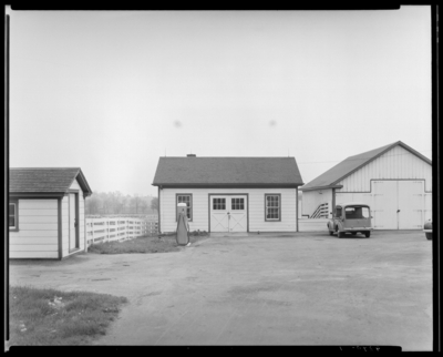 Dixiana Farm, (Russell Cave Road); exterior view                             barns