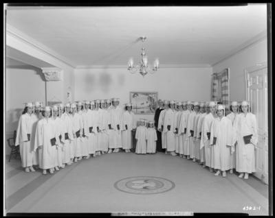 St. Joseph's Hospital, 544 West Second (2nd) Street; nurses,                             graduating class, 1942; interior; group portrait