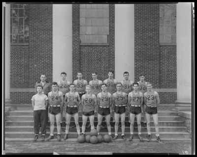 Georgetown College basketball team ; group standing on steps of                             building