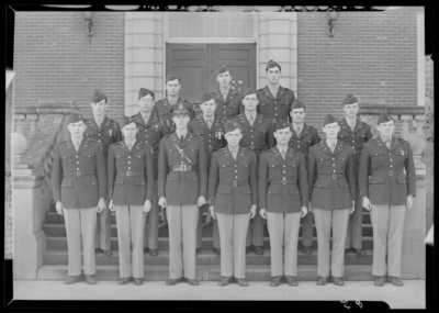 Military Company C group standing on steps of building (1943                             Kentuckian) (University of Kentucky)