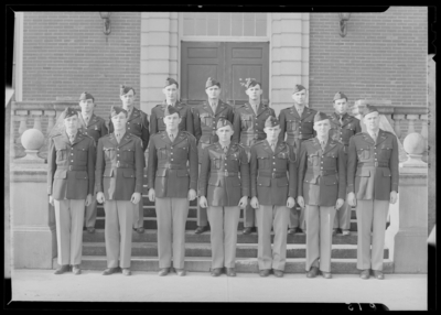 Military Company K group standing on steps of building (1943                             Kentuckian) (University of Kentucky)