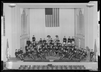University Of Kentucky band, group standing on stage of Memorial                             Hall