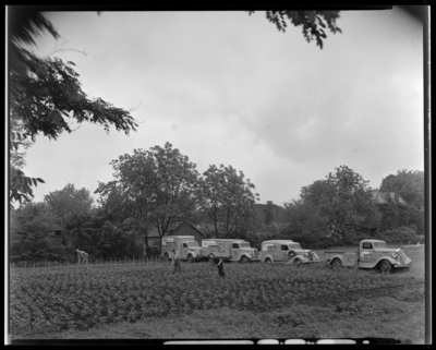 Ewing-VonAlmen Dairy Company, 444 West Fourth (4th); men working                             in field with Sealtest Ice Cream trucks behind them