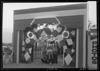 Joyland Park ; group of people standing in front of the entrance                             to the arcade