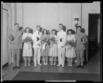 L.T.C.B. Bush (or Brush); wedding; wedding party gathered in                             group