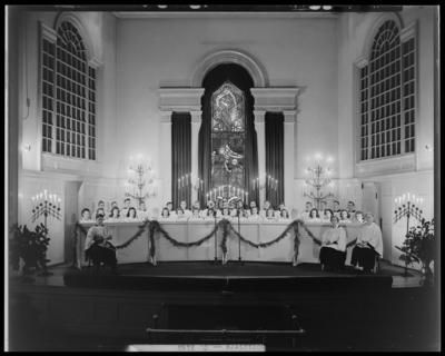 Choristers (1944 Kentuckian) (University of Kentucky); group on                             stage at Memorial Hall