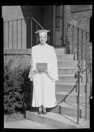 Kentucky Female Orphan School, 201-203 West Short; individual                             standing with diploma; Mary Brown