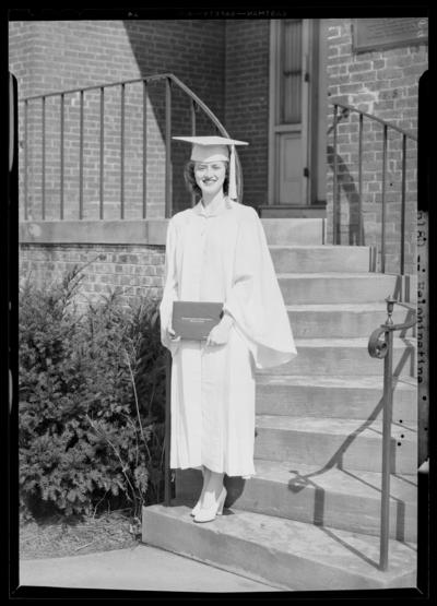 Kentucky Female Orphan School, 201-203 West Short; individual                             standing with diploma; Heinhinstine