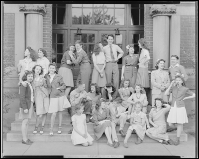 Lexington's Children's Theatre; children standing on                             stage