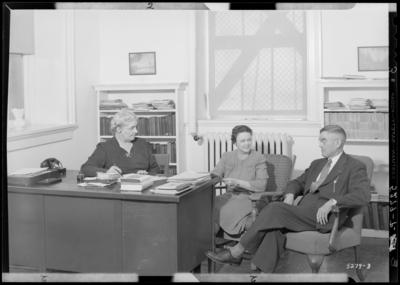 Deans, University of Kentucky; interior office; Sara B. Holmes                             (Dean of Women); Jane Haselden (Assistant Dean of Women); T.T. Jones                             (Dean of Men)