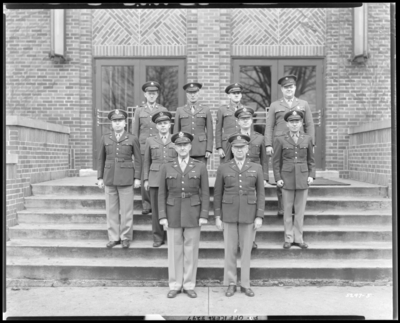 Officers, Military Department; University of Kentucky; Barker                             Hall; exterior; group portrait
