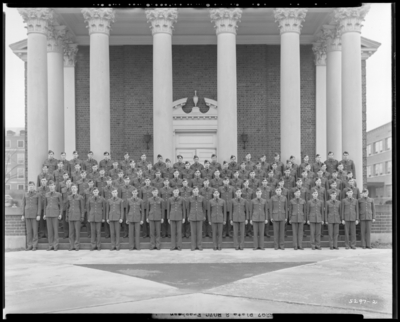 ROTC Freshman, Military Department; University of Kentucky;                             Memorial Hall; exterior; group portrait
