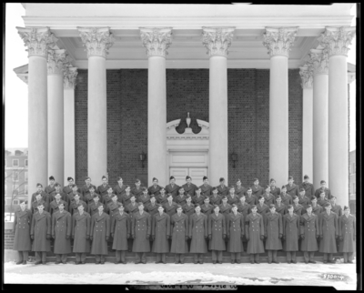 ROTC (Company A), Military Department; University of Kentucky;                             Memorial Hall; exterior; group portrait