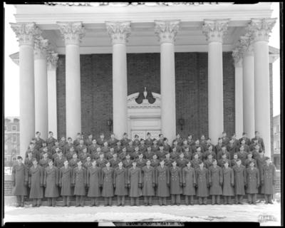 ROTC (Company C), Military Department; University of Kentucky;                             Memorial Hall; exterior; group portrait