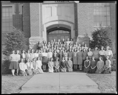 Senior High Girls Glee Club, Garth High School (Georgetown);                             exterior; group portrait