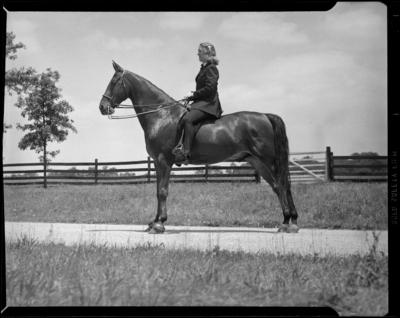 Mrs. Thomilson; Elmendorf Farm; woman on a horse