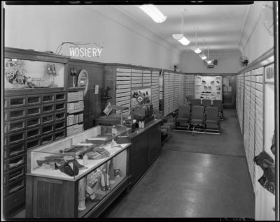 Nisley Company (shoe store), 116 West Main; interior of shoe                             store