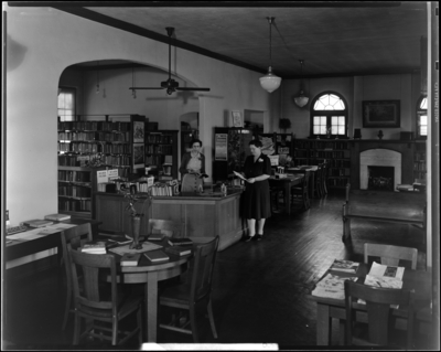 Georgetown Library; librarian at circulation desk