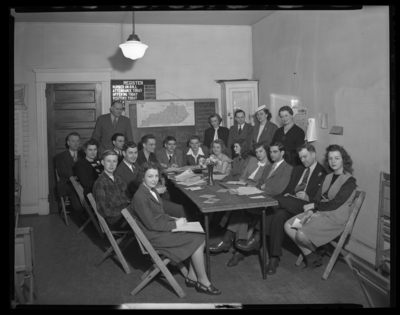 State Youth Council; Arlington Christian Church, 1208 North                             Limestone; interior; group gathered around a table