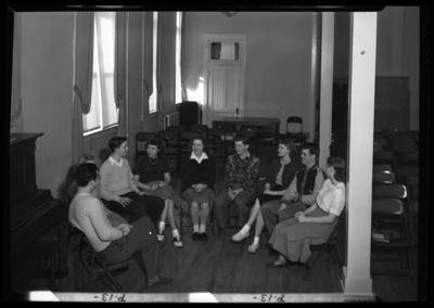 Georgetown College; Future Teachers of America; interior; group                             portrait
