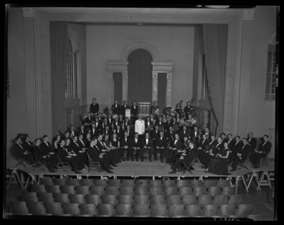 Concert Band; University of Kentucky; Memorial Hall; interior;                             group portrait