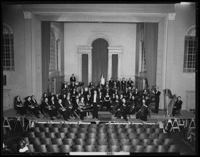 Symphony Orchestra; University of Kentucky; Memorial Hall;                             interior; group portrait