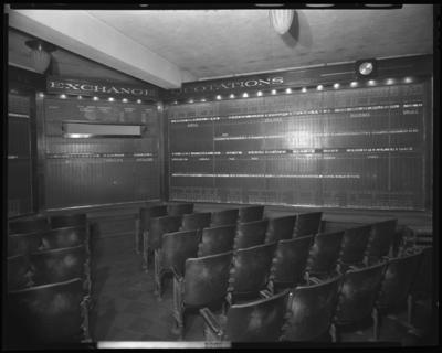 W.E. Hutton & Company, 126 East Main; interior; stock                             boards viewing room