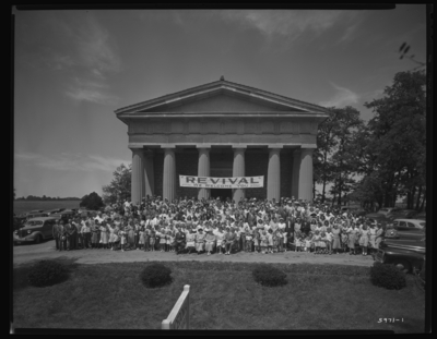 Macedonia Christian Church (Winchester Pike); exterior; Revival                             Festival; group portrait