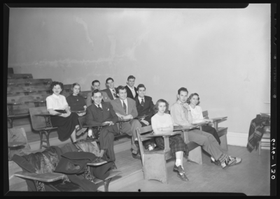 Belle of the Blue; Georgetown College; classroom; interior;                             student seated in lecture hall