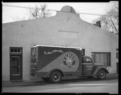 Webb Brothers (beer distributors), 260 East Vine; exterior;                             delivery truck advertising