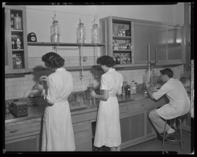 St. Joseph's Hospital, 544 West Second (2nd) Street;                             interior of Laboratory; laboratory workers